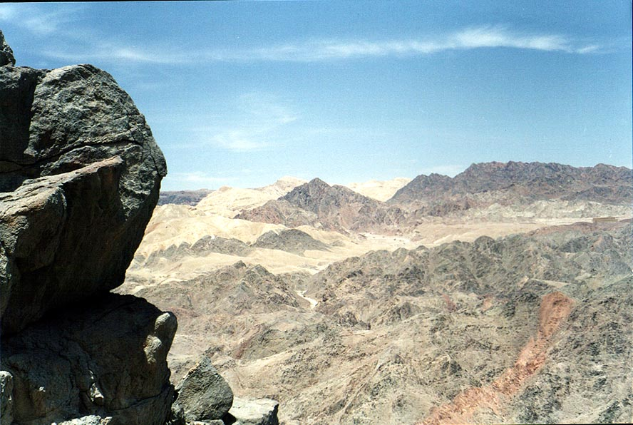 View of mountains near Eilat from Mount Tzefahot. The Middle East