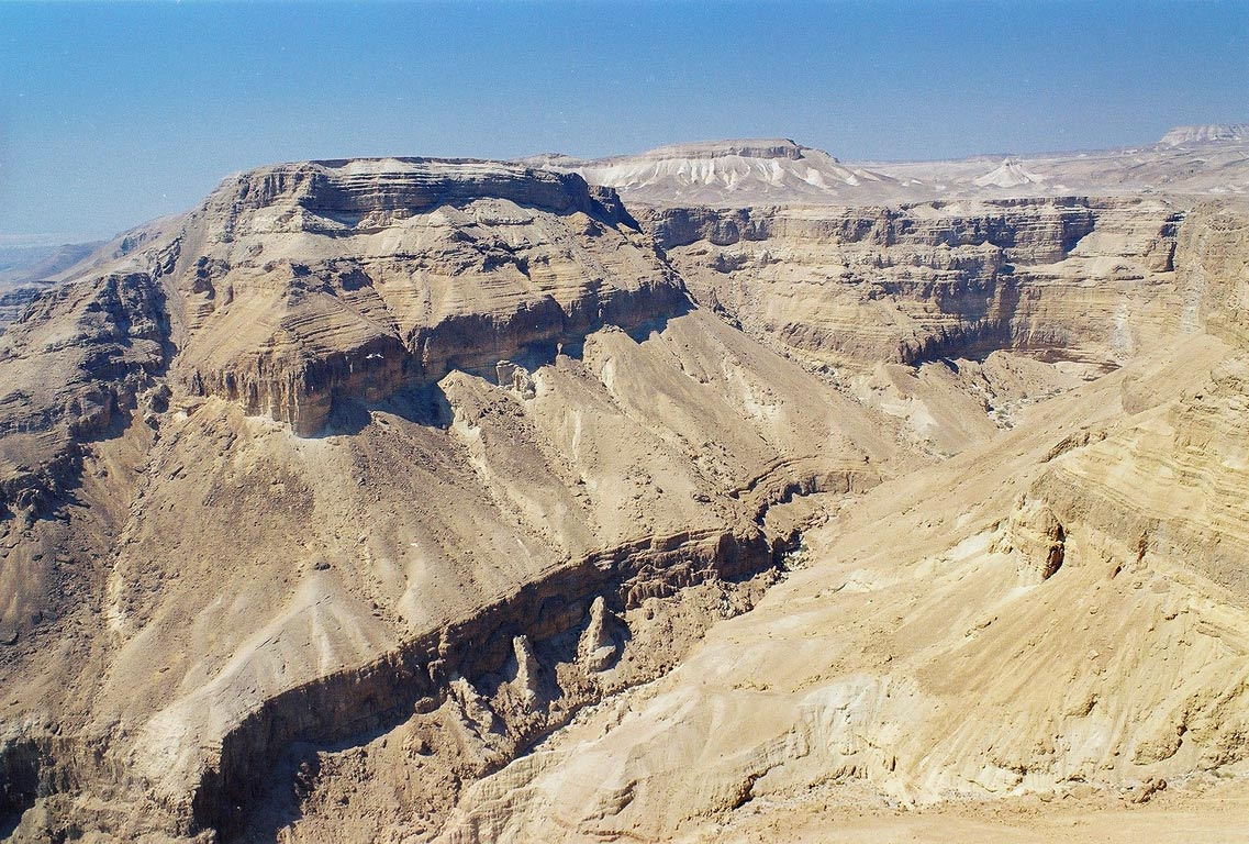 View of Bokek Creek canyon from the plateau, near Ein Bokek. The Middle East