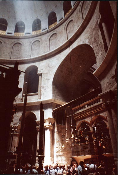 Rotunda of the Church of the Holy Sepulchre in the Old City. Jerusalem, the Middle East