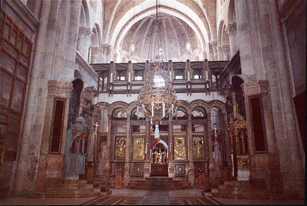 Catholicon hall in the Church of the Holy...Old City. Jerusalem, the Middle East