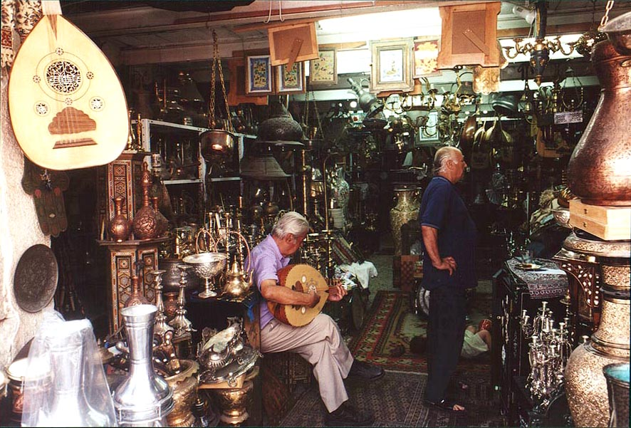 A brass shop at Beit Eshel St.. Jaffa, the Middle East