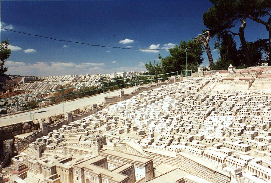 1/50th scale model of Herod's temple at Holyland...houses at background. The Middle East