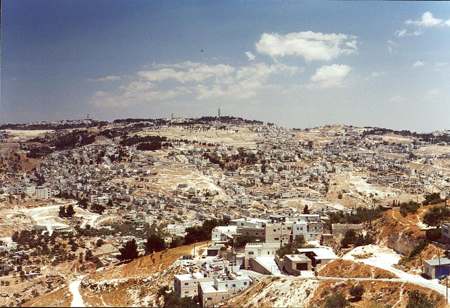 Panoramic view of Jerusalem from a southern hill. The Middle East
