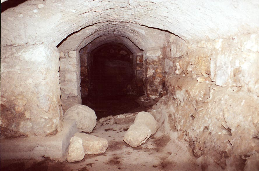 A tunnel to water cisterns north-west from Temple Mount in Jerusalem. The Middle East