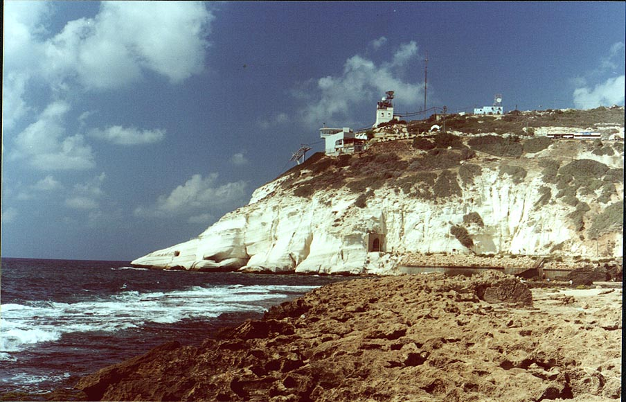 View of Rosh Hanikra, with a railway tunnel (now closed). The Middle East