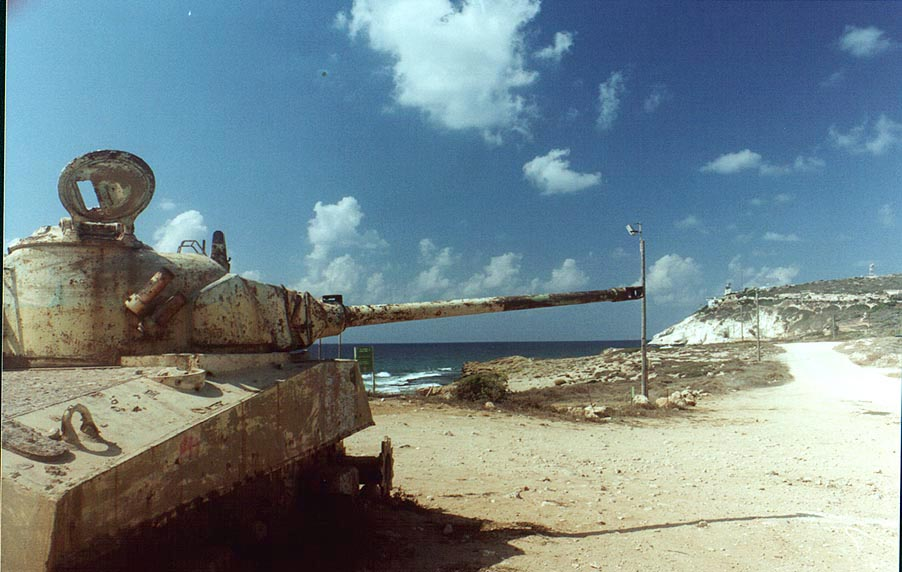 A junk tank on a beach near Rosh Hanikra. The Middle East