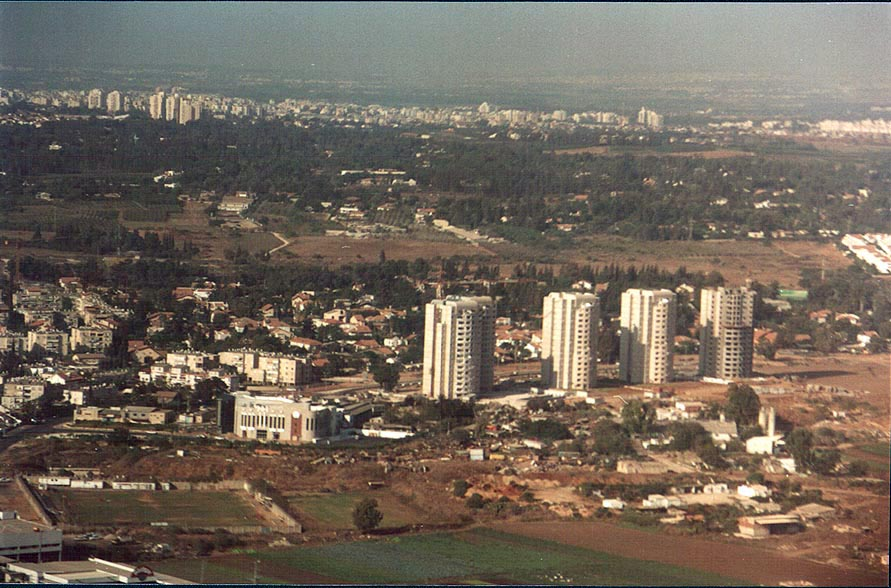 View of houses in western Tel Aviv from a plane, near Ben Gurion Airport. The Middle East