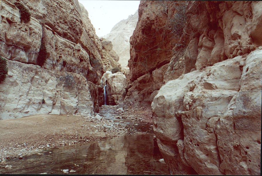 Hidden Waterfall at Nahal Arugot. Ein Gedi, the Middle East