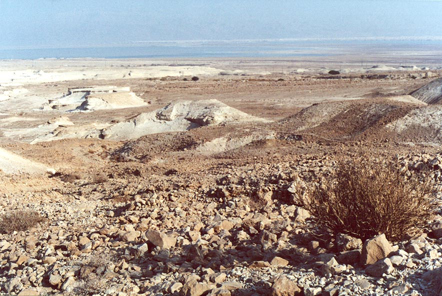 View of Judean Desert and Dead Sea from a trail north from Masada. The Middle East
