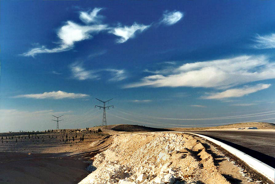 A new road through Negev Desert, 1.5 miles north from Beer-Sheva. The Middle East