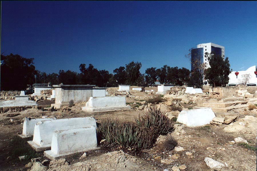 Abandoned and destroyed Moslem Cemetery in...is on the background. The Middle East