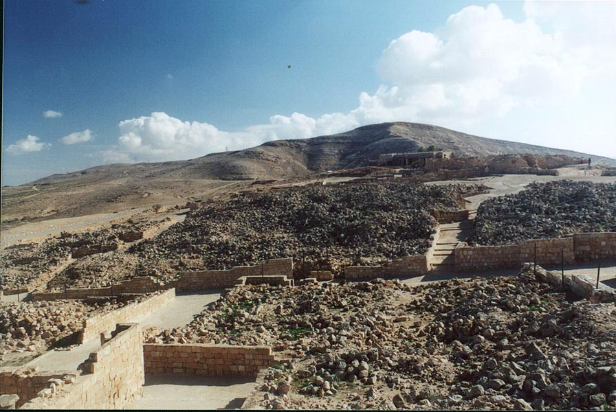 Remains of ancient Nabataean city Mamshit in...on the top of a hill. The Middle East