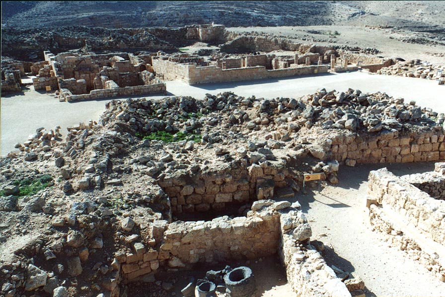 Remains of ancient Nabataean city Mamshit in...Church on background. The Middle East