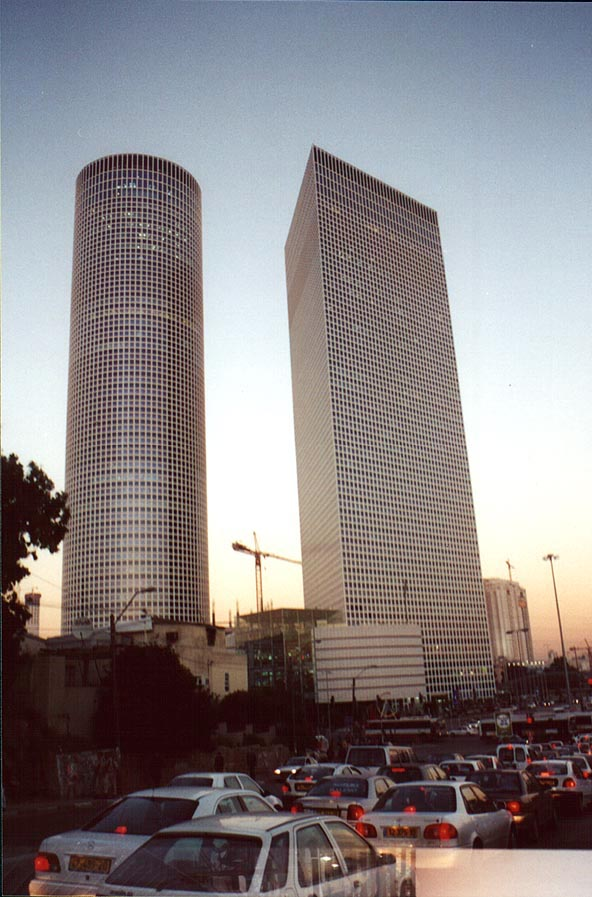 Hashalom Towers and heavy traffic in Tel Aviv at evening. The Middle East