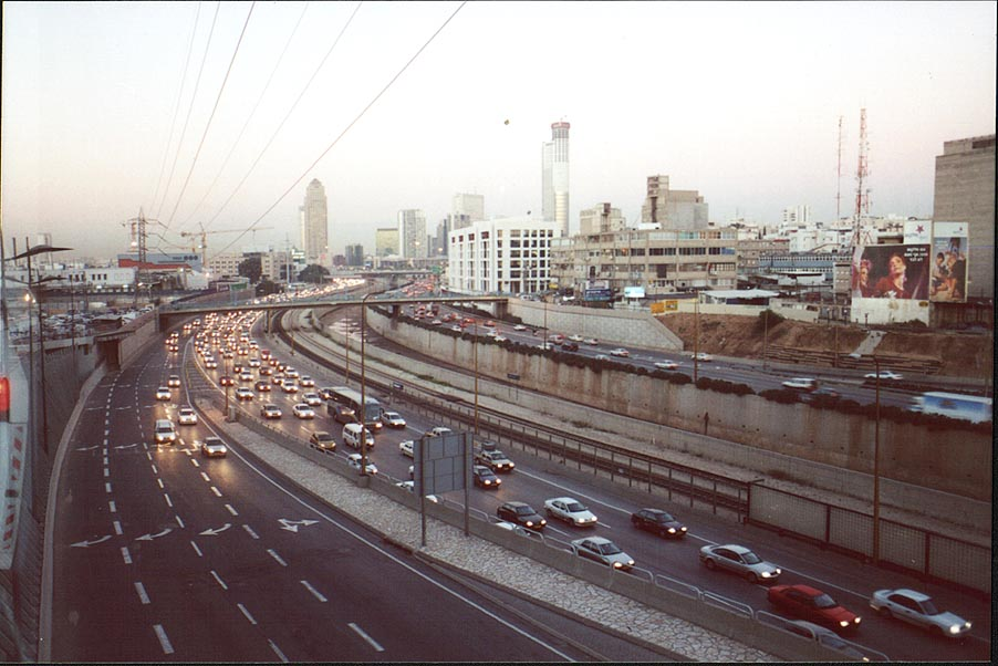 Ayalon Highway in Tel Aviv at evening, with Ramat Gan at background. The Middle East