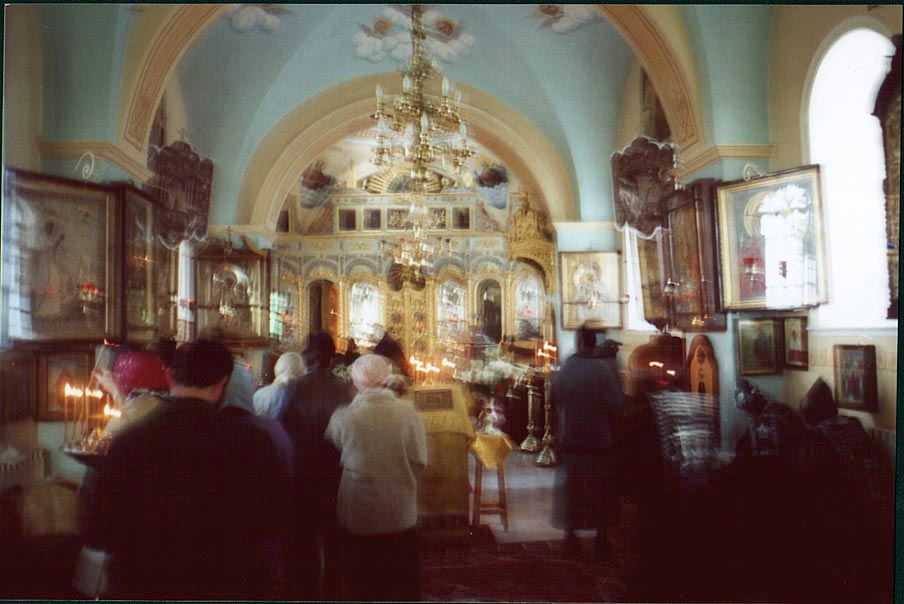 An Orthodox church with ghostly figures of...western Jerusalem), the Middle East