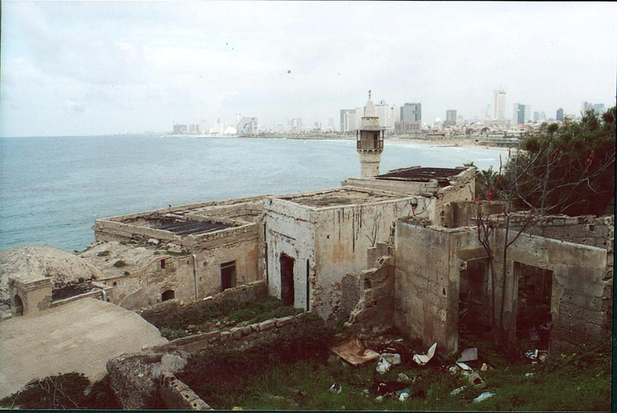 Sea Mosque , with Tel Aviv on background. Jaffa, the Middle East