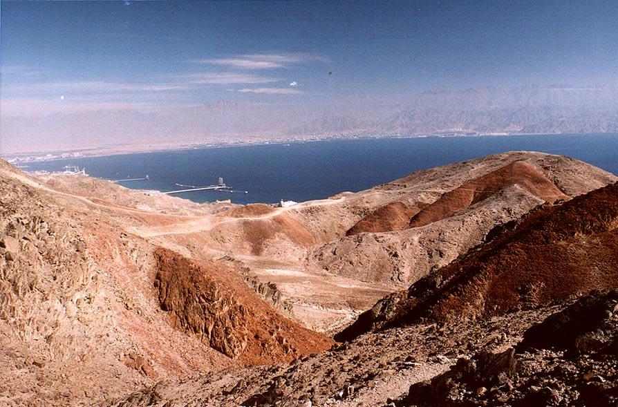 Red Sea and hills near Coral Beach, 3 miles south-east from Eilat. The Middle East