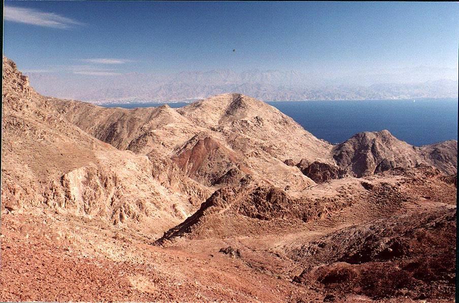 Red Sea and mountains near Taba, 3 miles south-east from Eilat. The Middle East