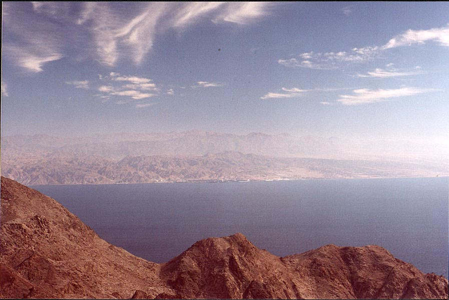 View of Akaba Bay from mountains near Taba, 3 miles south-east from Eilat. The Middle East
