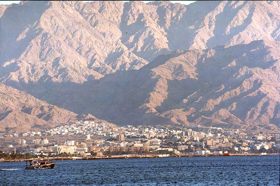 Akaba and mountains in Jordan at evening. Eilat, the Middle East