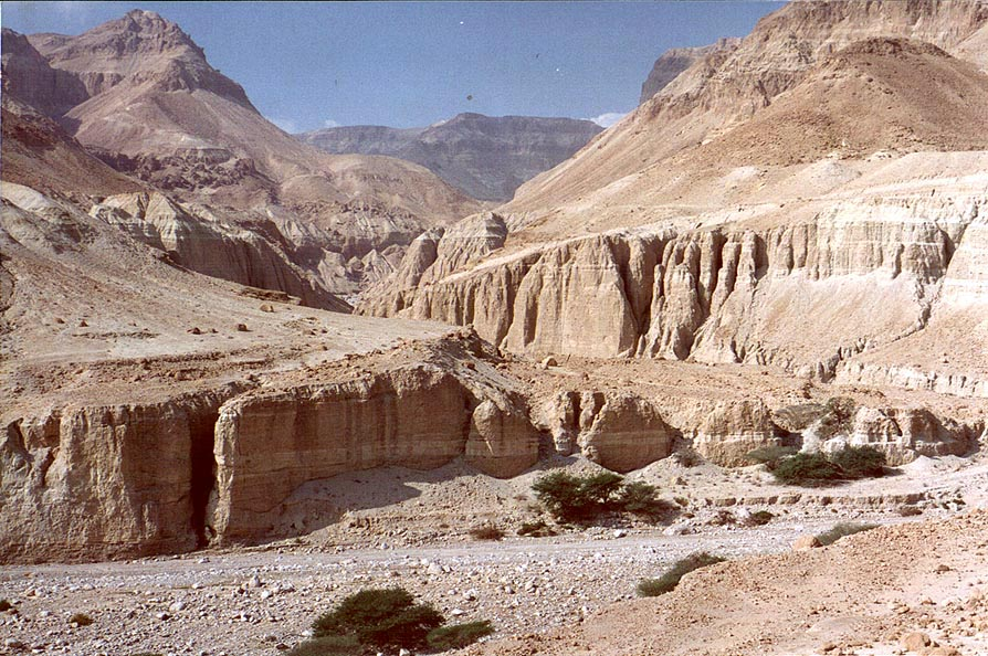 Entrance to Nahal Tseelim River Gorge from Dead...from a parking place. The Middle East