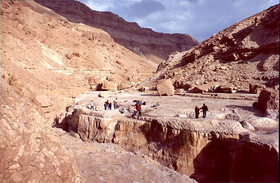 Picnic at Geye Bahak Gorge, 2 miles north from Masada. The Middle East