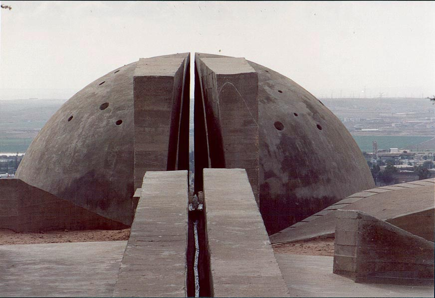 A concrete dome and a fountain in Hanegev Palmach Brigade Memorial. The Middle East
