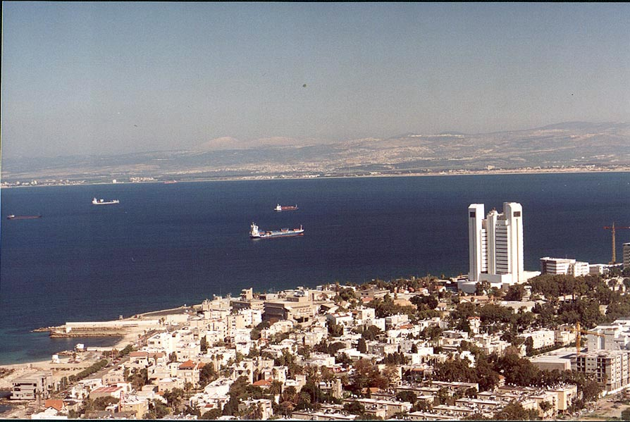 View of Haifa, a bay and a northern coast from Mount Carmel. The Middle East