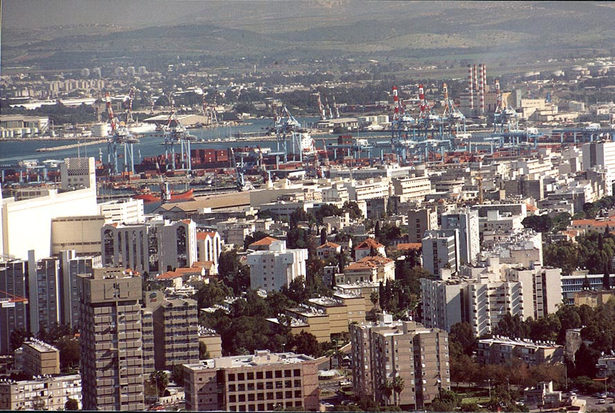 View of Haifa port from Mount Carmel. The Middle East