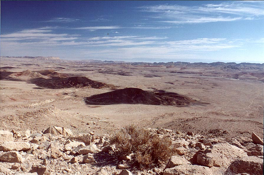 Approaching a bottom of Ramon Crater, view to the...by black stones). The Middle East