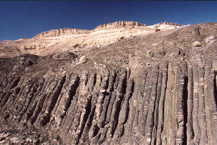 Basalt prisms in Ramon Crater, below the Visitor...the top. Mitzpe Ramon, the Middle East