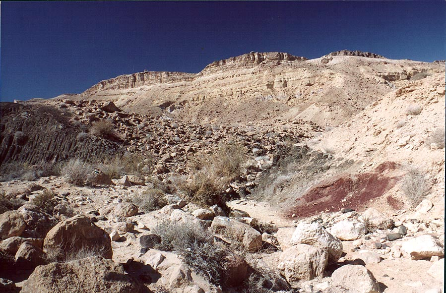 A creek with basalt prisms in Ramon Crater, below...the top. Mitzpe Ramon, the Middle East
