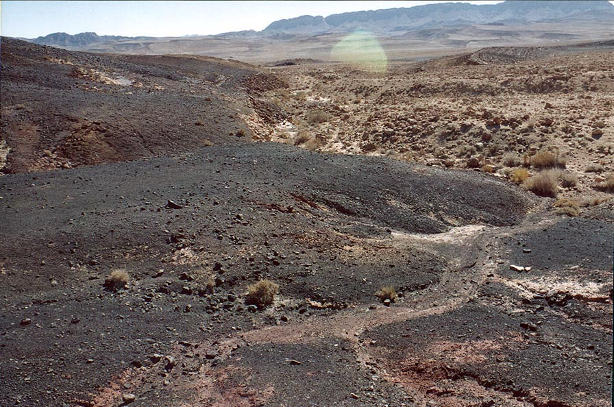 Blackened stones in Ramon Crater. Mitzpe Ramon, the Middle East