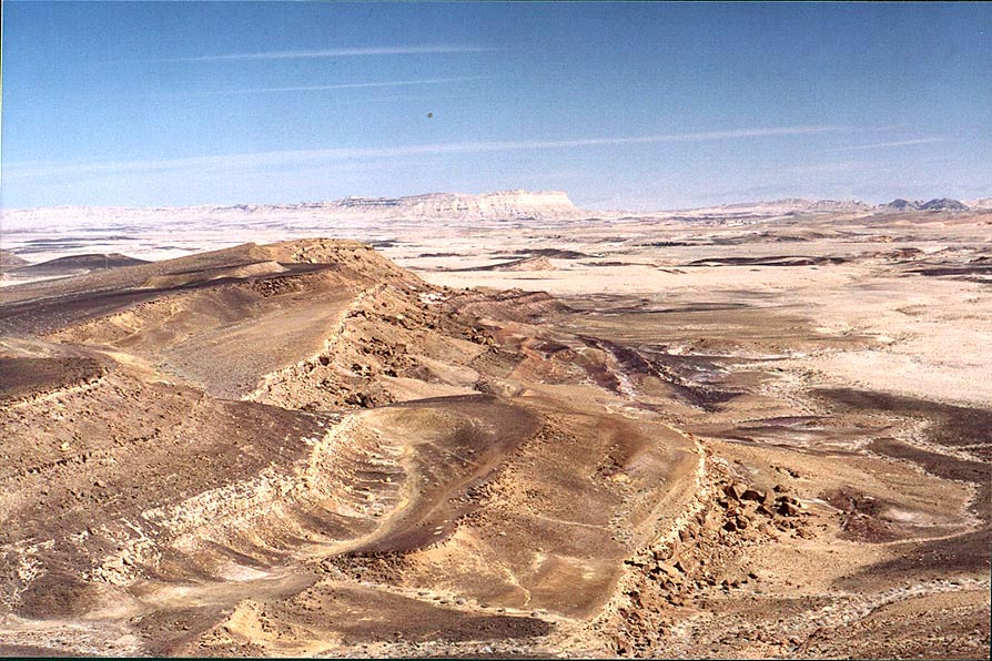 Stone terraces on the bottom of Ramon Crater...Center. Mitzpe Ramon, the Middle East
