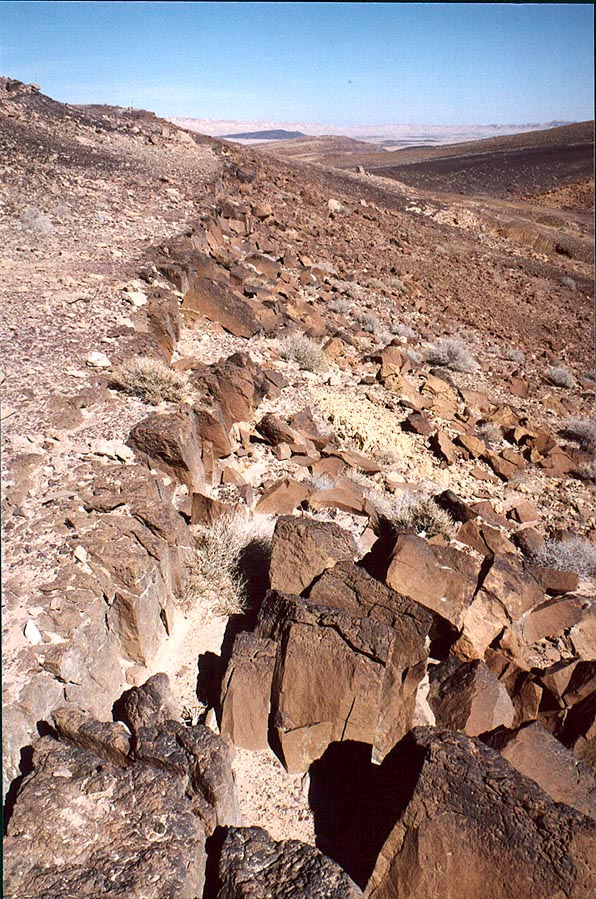An edge of a gradually disintegrating stone...Crater. Mitzpe Ramon, the Middle East