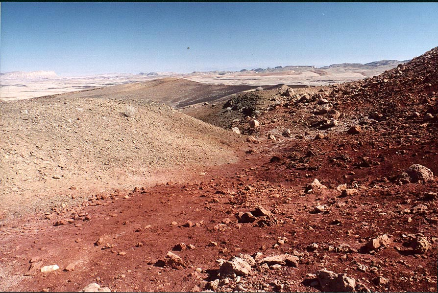 Red sands on the bottom of Ramon Crater. Mitzpe Ramon, the Middle East