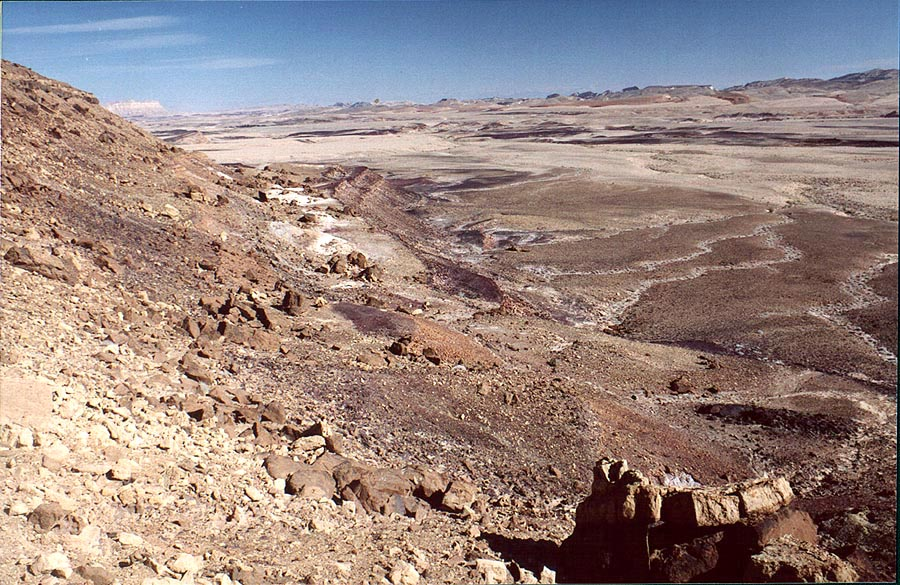 Side of a hill on the bottom of Ramon Crater. Mitzpe Ramon, the Middle East