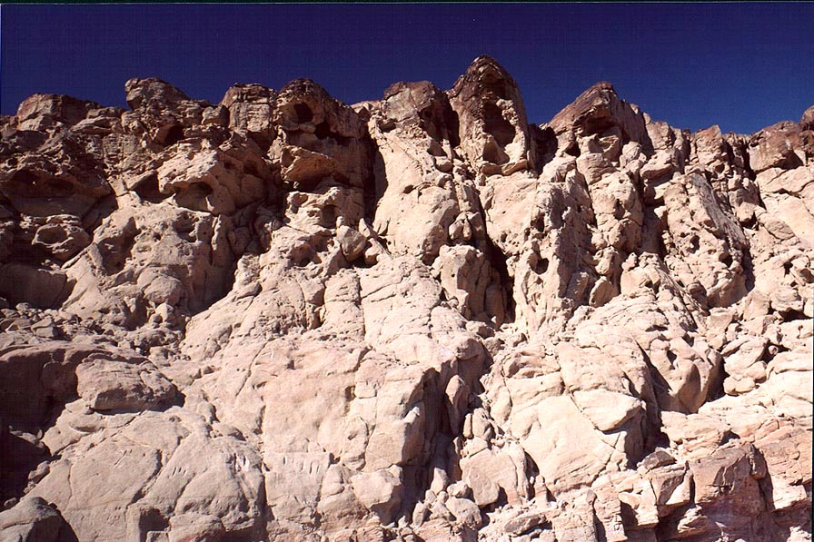 Eroded sandstone in Ramon Crater. Mitzpe Ramon, the Middle East