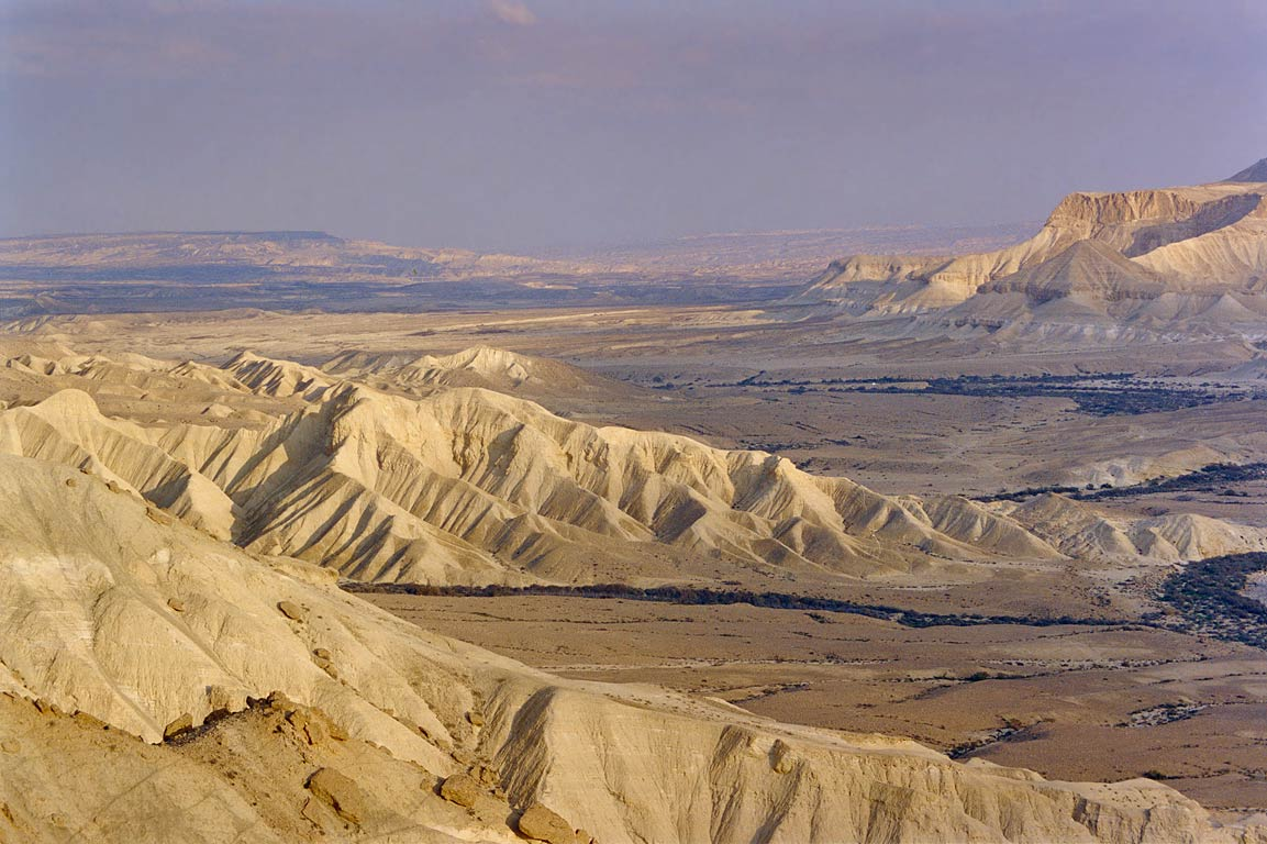 Zoomed view of a valley of Zin River from Ben...Sde Boker at evening. The Middle East
