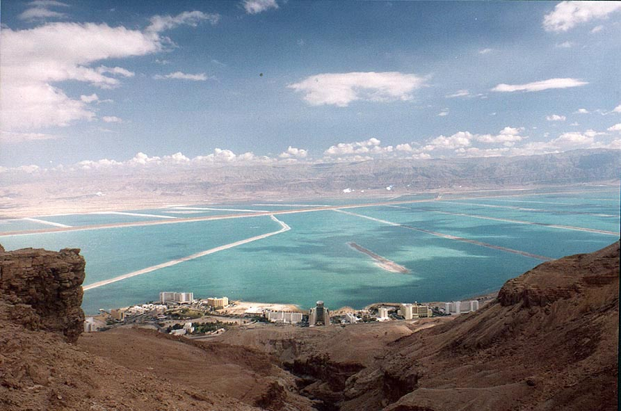 View of Ein Bokek and Dead Sea salt pans from the top of Bokek canyon. The Middle East