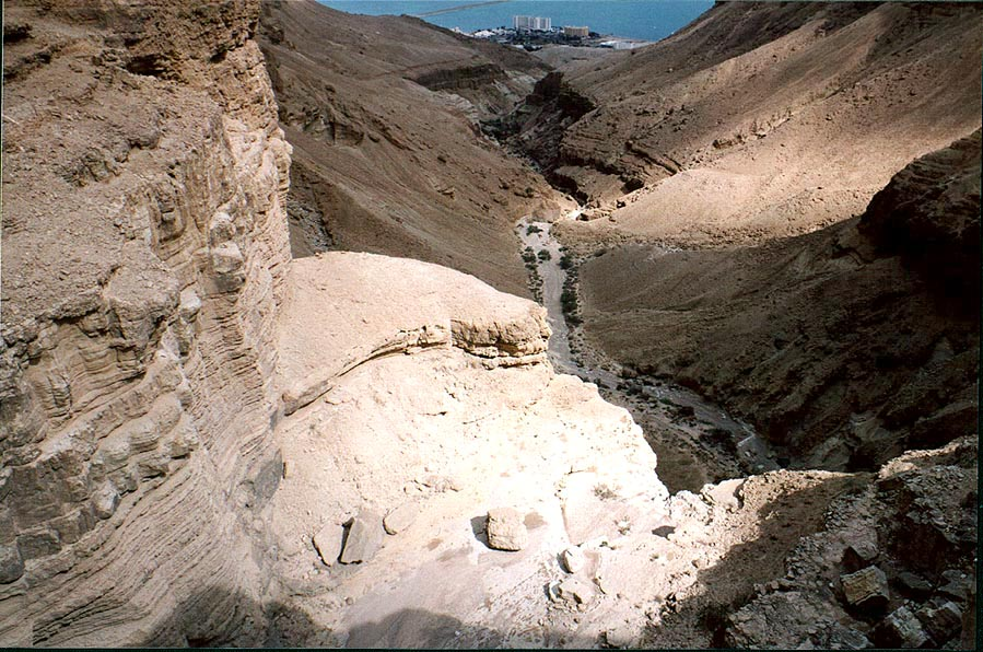 Upper terraces of a canyon of Bokek River near Ein Bokek. The Middle East