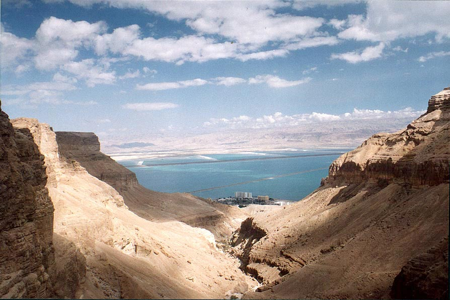 Canyon of Bokek River and Dead Sea at Ein Bokek. The Middle East