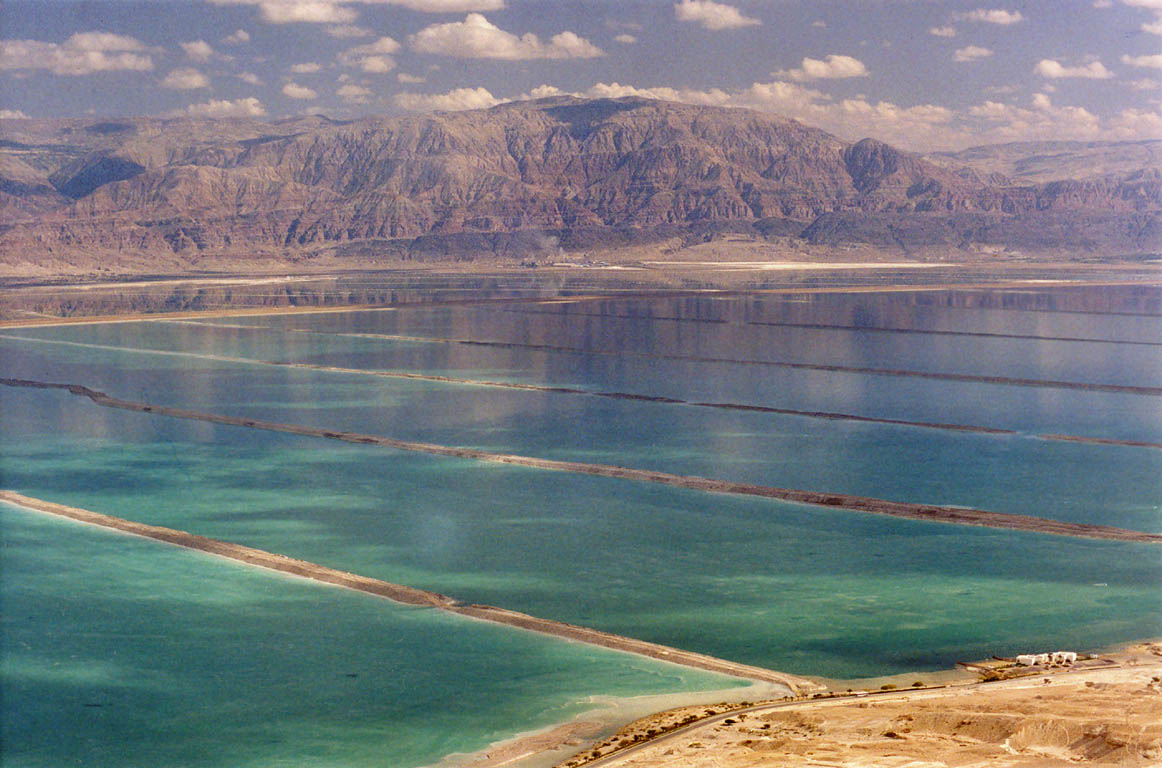 View of Dead Sea salt pans near Ein Bokek from...side of the canyon. The Middle East