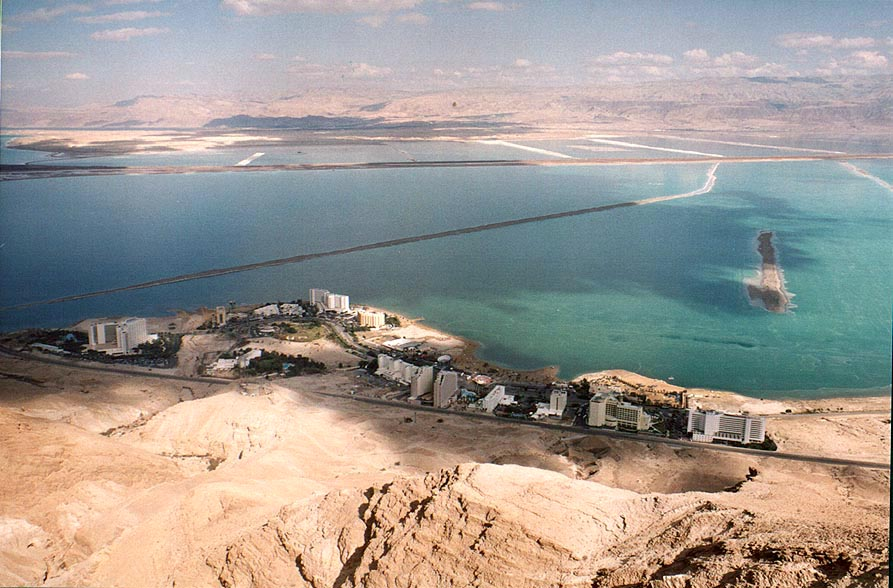 View of Dead Sea and Ein Bokek hotels from the...side of the canyon. The Middle East