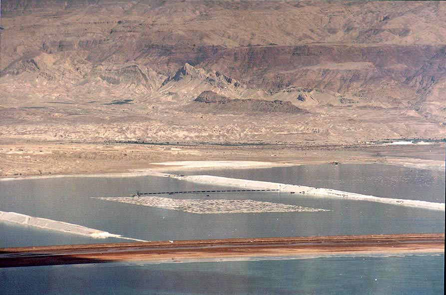 View of Dead Sea salt pans in Jordan (zoomed...Bokek creek canyon. The Middle East