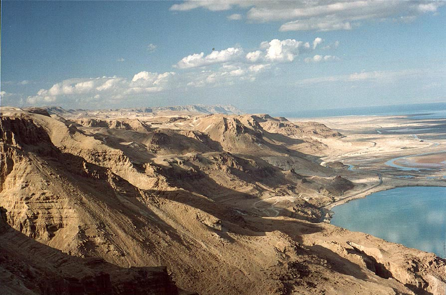 View to the direction of Masada from Maale Bokek...glow of Dead Sea). The Middle East