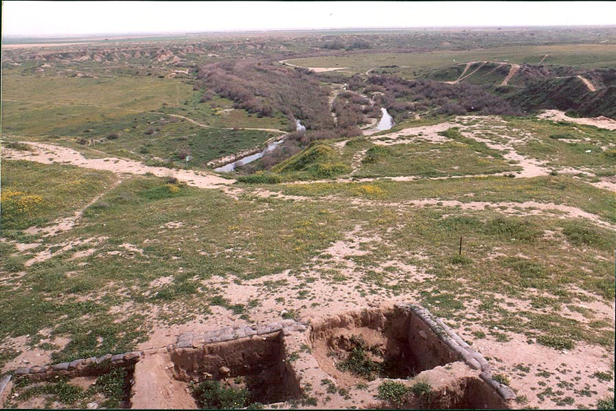 View of remains of Roman houses and Nahal Besor...west from Ofakim. The Middle East