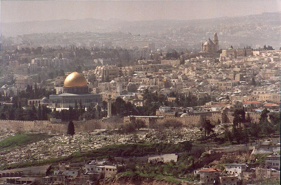 View of Omar Mosque and the Old City from Hebrew...Scopus. Jerusalem, the Middle East