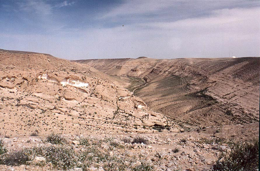 View of hills near Yeroham from a trail from a damn to the mountain ridge. The Middle East
